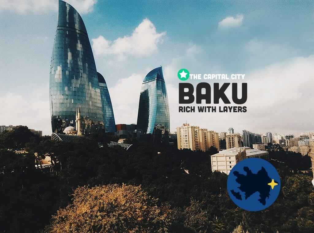 Baku Azerbaijan rich with layers image of flame towers