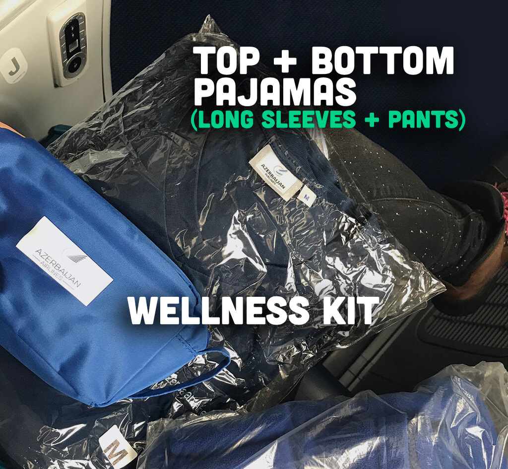 Wellness kit and pajamas given in azal airlines comfort club class