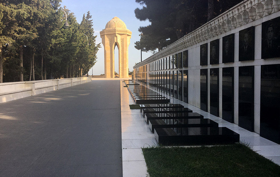 Alley of Martyrs Memorial by Flame Towers Baku Azerbaijan