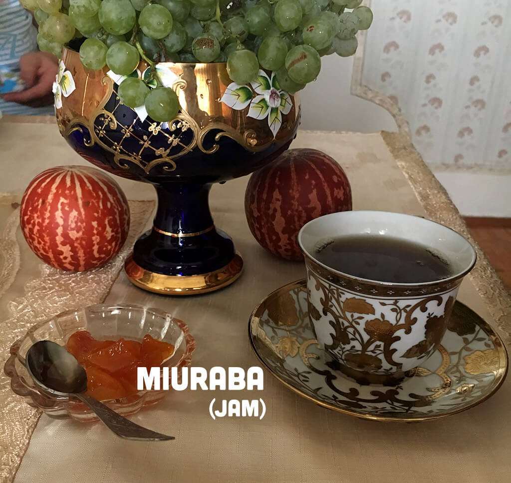 Mürəbbə Miurabba Azerbaijani jam with tea traditional azerbaijan food
