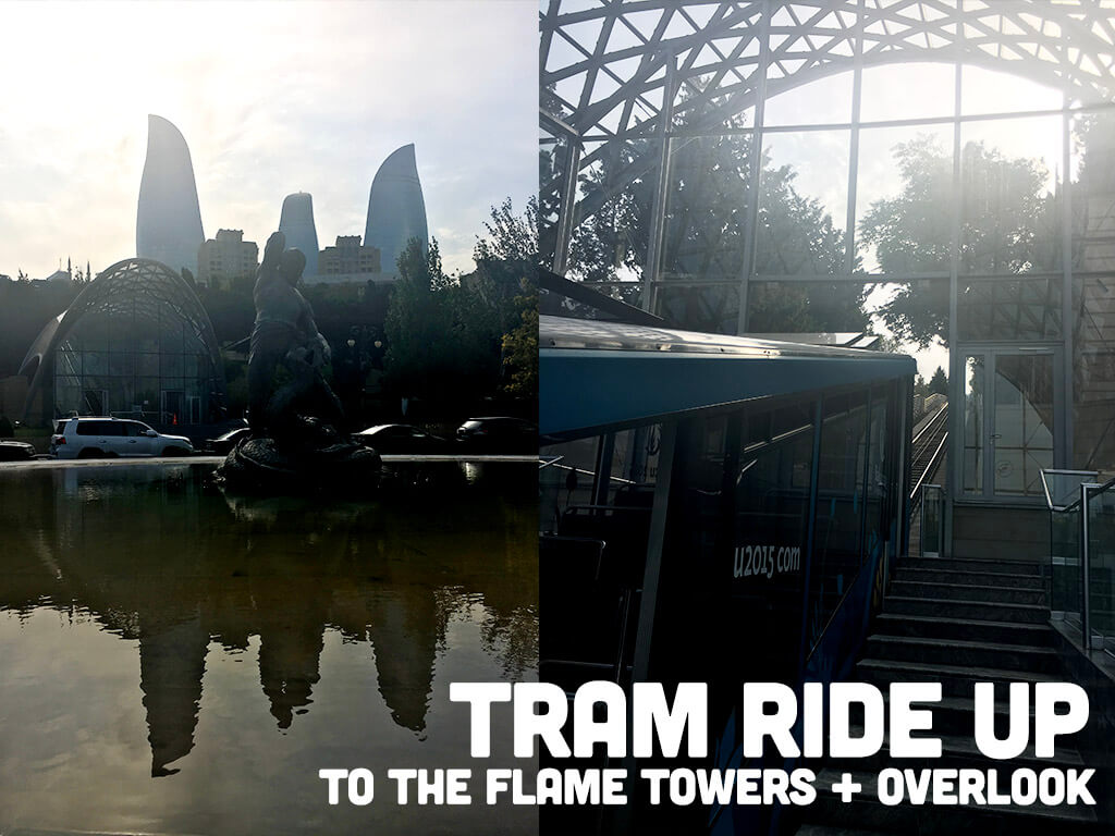 Tram ride up to the Flame Towers and City Overlook in Baku Azerbaijan