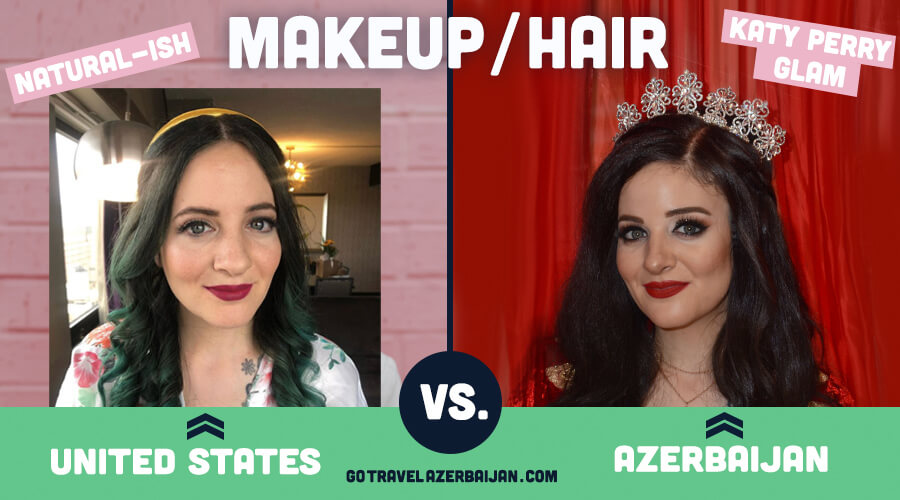 Traditional Azerbaijani Wedding makeup compared to traditional united states wedding makeup