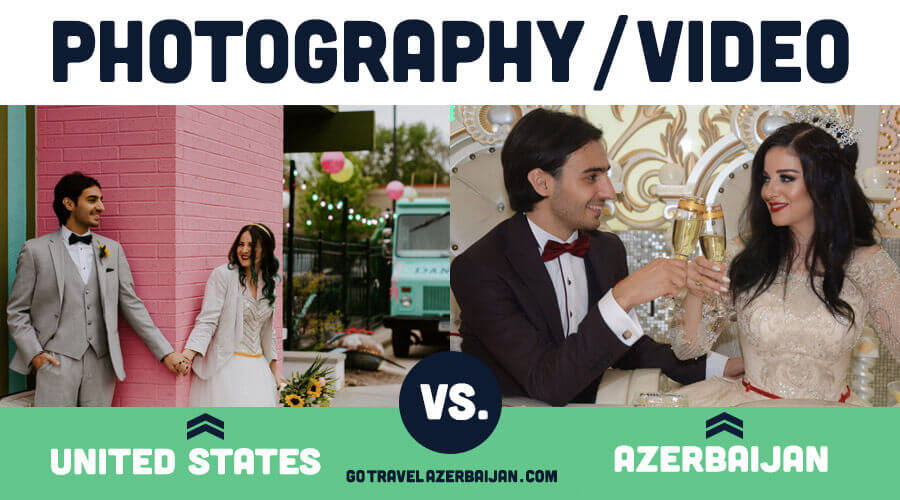 Traditional Azerrbaijani wedding photos compared to traditional united states wedding photos
